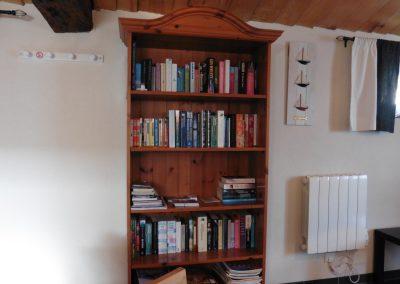 studio in frankrijk met gevulde boekenkast