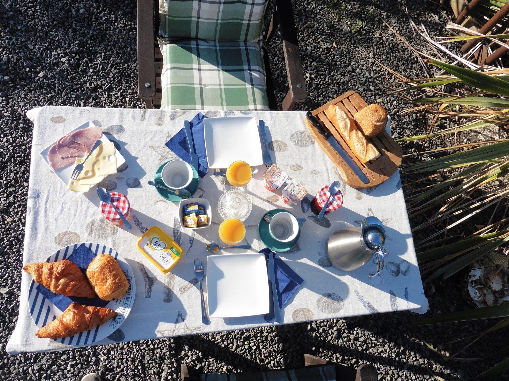 een goed gevuld ontbijt in Frankrijk