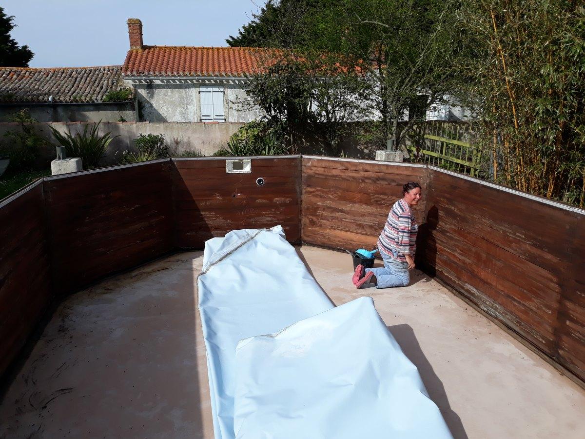 Nieuwe liner voor het zwembad